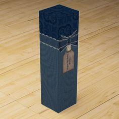 Custom Blue Striped Wine Gift Box
