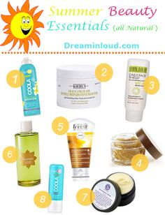 Natural Beauty Essentials For Summer| dreamingloud.com ----------- A lot of our favorite summer activities involve getting out in the hot sun. While we do so, it is also important to take certain precautions to protect our skin and hair from unnecessary sunburns, rashes, flaky scalp and frizziness. I have rounded up all my favorite summer beauty essentials that will help you get through the hottest of days smiling ----- Natural sunscreen, natural deodorant, summer beauty essentials
