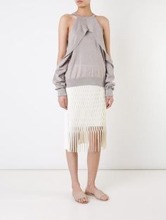NWOT $475 Sz 4 Dion Lee Taupe Beige Draped Cutout Long Sleeve Sweater Top #DionLee #CutOut