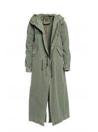 945 e PK145S C3594 - PIGMENT DYED SLATE GREEN COTTON CANVAS LONG PARKA