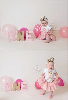 cake smash, first, Birthday, 1st, one, pink, gold, balloons, milestone, polka dot, studio, tutu, headband, little girl, photographer, photographs, pictures, photos, o, n, e