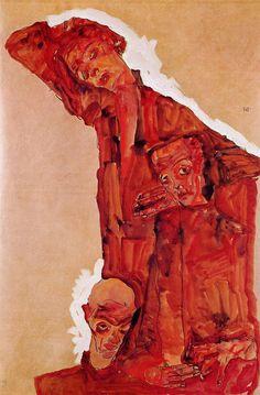 Egon Schiele,Composition avec trois personnages masculins (Autorportrait) (1911)