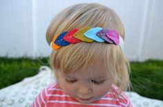 Leaf Garland Headband, Multicolor Hand-stitched Garland headband for babies, toddlers and children