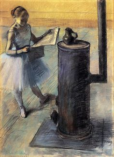 Edgar Degas was famous for his unconventional portraits of ballet dancers. Instead of catching them in moments of beauty, he painted snapshots, unguarded moments, like reading the newspaper! Absolutely LOVE Degas dancer paintings