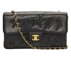 Chanel Vintage Black Leather Star Classic 2.55 Flap Bag