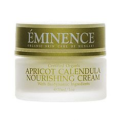 Eminence organics biodynamic apricot calendula nourishing cream features great recovery and nourishing cream for dry to sensitive skin enhances skin's moisture screen minimizes skin swelling and guards against toxins advances moisture and elasticity in the skin features flax seed greatly moisturizes and hydrates the skin cocoa butter improves skin firmness and durability yarrow herb minimizes skin irritation and swelling apricot enhances skin's ability to retain moisture.