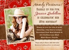 Country Teen Birthday Invitations - Western Photo Red Cowgirl Style Wild
