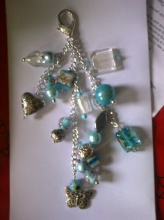 Turquoise & clear bag charm