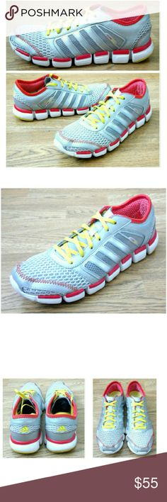 Adidas Climacool Running Shoes These awesome Adidas Climacool Running Shoes are perfect for any workout! Extra, unused white shoelaces included. Climacool mesh technology provides 360 degree cooling for whole foot, Adiprene supports smooth stride and targeted impact absorption. Silver with red and yellow accents. U.S. 8.5, UK 7. IN EXCELLENT CONDITION, NO DAMAGES. Grab yours for less and stay cool and fit with Adidas Climacool. Adidas Shoes Athletic Shoes