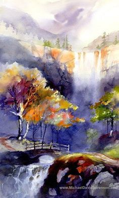watercolor mountains warm colors - Google Search