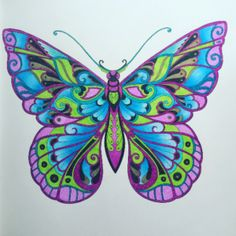 Take a peek at this great artwork on Johanna Basford's Colouring Gallery! Butterfly Coloring Page, Butterfly Drawing, Butterfly Painting, Butterfly Wallpaper, Butterfly Crafts, Butterfly Flowers, Beautiful Butterflies, Butterfly Watercolor, Adult Coloring