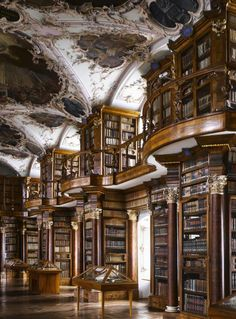 The Abbey of St Gall Library in Switzerland houses one of the country's oldest literary collection. [someone else's caption]