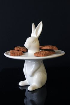 White Rabbit Cake Plate