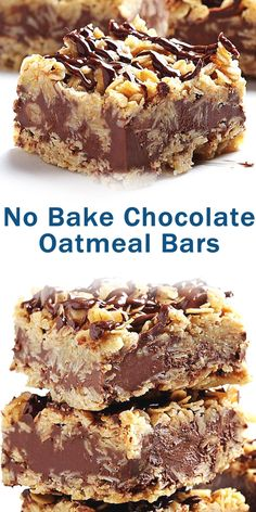 set aside. Overhangs the edges of the foil to lift the bars easier from the baking dish. (You can use a if you want thinner bars.) Melt butter and brown sugar in large saucepan over medium heat, until Best Dessert Recipes, Sweets Recipes, Easy Desserts, Baking Recipes, Cookie Recipes, Delicious Desserts, Yummy Food, Bar Recipes, Chocolate Oatmeal