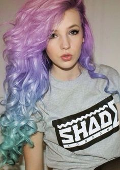 beauty, blue, blue hair, curls, curly, curly hair, girl, graphic tee, green, green hair, hair, hairstyle, hipster, lavender, lavender hair, lilac, lips, long hair, make up, pale, pastel, pin up, pink, pretty, purple, purple hair, shade, violet, wavy hair