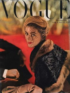 Carmen Dell'Orefice looking regal in a veiled hat on the cover of Vogue 1948 - - photo John Rawlings Carmen Dell'orefice, Vogue Magazine Covers, Fashion Magazine Cover, Vintage Vogue Covers, Magazine Mode, Magazine Wall, Vintage Fashion Photography, Vintage Fur, Vintage Magazines
