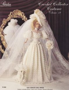 1904-Gibson-Girl-Bride-Vol-19-Paradise-Crochet-Doll-Clothes-Pattern-Book-P-030