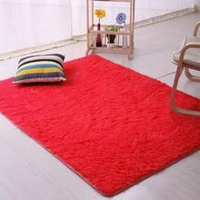 Candy Color Soft Anti-Skid Carpet Flokati Shaggy Rug Living Bedroom Floor Mat 40cm By 60cm -Red