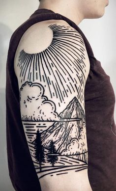 Linework Landscape And Nature Tattoos To Celebrate Your Untameable Spirit Line Art Tattoos, Line Work Tattoo, Body Art Tattoos, Sleeve Tattoos, Cloud Tattoos, Tattoo Art, Geometric Tattoo Design, Geometric Tattoos, Woodcut Tattoo