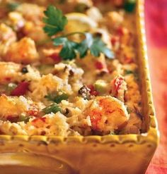 Recipe for Cajun Shrimp Casserole - This hearty seafood casserole is filled with shrimp, cheese and rice with a Cajun flair!