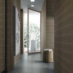 """Siparium"" Swing Door by Rimadesio. Brown aluminium frame and reflecting light-coloured glass. Sliding Door Systems, Sliding Doors, Interior Architecture, Interior And Exterior, Door Stripping, Italian Doors, Deco Design, Internal Doors, Commercial Interiors"