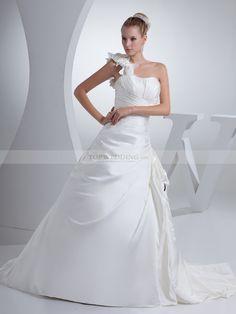 Flower Detailed One Shoulder Luxury Satin Wedding Gown