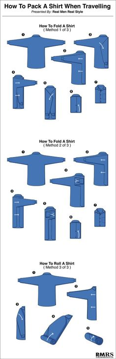 Here's how to properly pack your shirts to maximize space an.- Here's how to properly pack your shirts to maximize space and minimize annoying wrinkles. Here's how to properly pack your shirts to maximize space and minimize annoying wrinkles. Guides De Style, Style Masculin, La Mode Masculine, Maximize Space, Men Style Tips, Style Men, Dress Codes, Travel Tips, Travel Packing