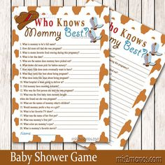 Western Baby Shower Who Knows Mommy's Best by M2MPartyDesigns