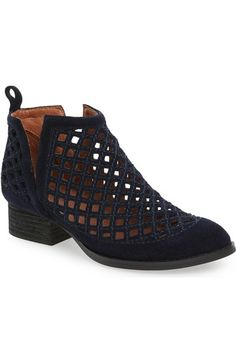 Jeffrey Campbell Taggart Cutout Bootie Brand new in box. Just purchased just a little too big for me. Block Heel Ankle Boots, Ankle Booties, Bootie Boots, Navy Blue Ankle Boots, Boots 2016, Short Boots, Leather Slip Ons, Chelsea Boots, Jeffrey Campbell