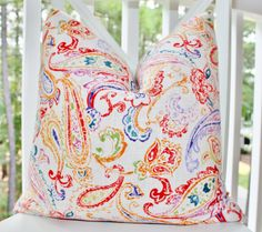Red Orange Pillow  Purple Pillow  Red Paisley by MotifPillows