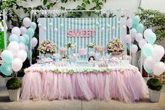 Adriana Gaspar e Marcela Castro: Festa Doce Helena! Baby Party, Baby Shower Parties, Bar Deco, Girl Birthday, Birthday Parties, Ice Cream Theme, Fiesta Baby Shower, Girls Party Decorations, Partys