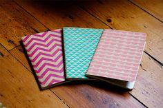 Chevron Triangle Scallops Notebooks Set of 3 Screen Printed Pocket Moleskine Cahier. $16,00, via Etsy.