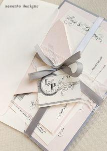 invitaciones en rosa y gris