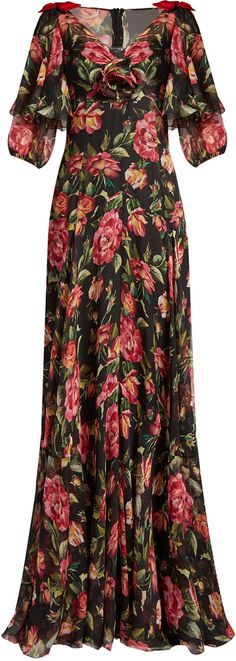 Fashions by Dolce & Gabbana. Disclosure: I'm an affiliate marketer. When you click on the link to the retailer (shopstylecollective) I earn a commission. DOLCE & GABBANA Rose-print V-neck silk-chiffon gown