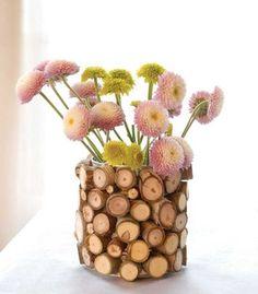 Wood Base Vase