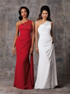 JORDAN D582 Shown in White and in Cherry…Lace one shoulder gown has sheer shoulder over sweetheart neckline. Ruched waist and draped skirt with sweep train.