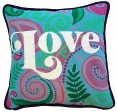 Love Needlepoint Cushion Kit - Product of New Zealand, Needlepoint Kits, Needlepoint Pillows, Needlepoint Kits, Green Chevron, Cross Stitch Embroidery, Valentine Day Gifts, Needlework, Cushions, Tapestry, Crafty