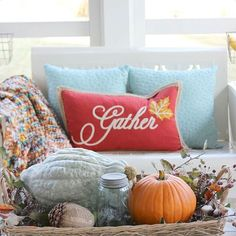 "Love this ""Gather"" pillow I found at @tjmaxx.  Perfect on my screen porch for the fall season!  #maxinista #falldecor #fall #fallhometour #hymnsandverses"