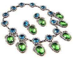 KJL KENNETH J. LANE 'Duchess of Windsor' Aquamarine & Peridot Crystals Pendants Necklace & Clip Earrings Set