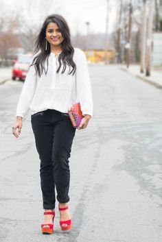 Neha gandhi. petite blogger, nydj, liveinslim, pink and orange pumps, smile, most pinned photo, most pinned picture, black and white, ootd, outfit