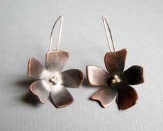 Flower earrings from copper spine studio
