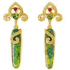 Earrings in 18-karat gold with opal drops, tourmaline and peridot by Paula Crevoshay, Albuquerque, N.M.