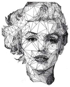 Geometric portrait of Marilyn Monroe Art And Illustration, Illustrations, Portrait Illustration, Arte Pop, Art Graphique, Creative Portraits, Creative Art, Creative Ideas, Art Plastique