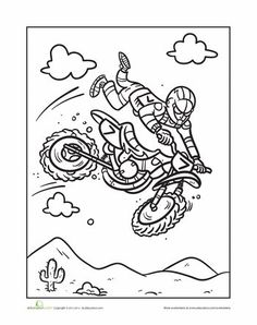 worksheets motocross coloring