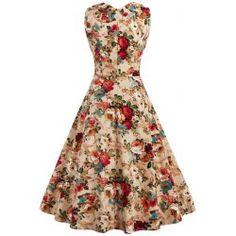 Retro Style High-Waisted Floral Print Women's Dress   TwinkleDeals.com
