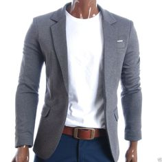 FLATSEVEN Mens Slim Fit Casual Premium Blazer Jacket (BJ102) Gray #FLATSEVEN #OneButton #MENSWEAR #BLAZER #JACKET