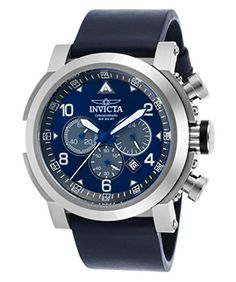 Sale Price: $119.99 Generous in size with a 52 mm stainless steel case, this hefty I-Force timepiece from Invicta is made for the gentleman with daring tastes. The smooth, navy blue genuine leather strap complements the vibrant blue dial with grey subdials, creating a handsome accessory that can enhance a suit and tie for the office or blazer and jeans for happy hour with the boys.