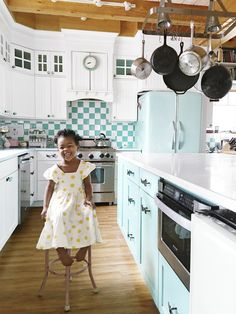 This Pennsylvania kitchen features a baby blue fridge (which is the owner's favorite find).