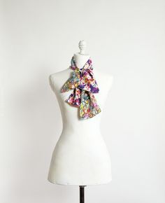 Multicolored silk scarf pattern mix of by CinneWorthington on Etsy, $69.00