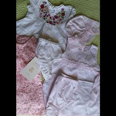 Bundle perfect condition! Like new! Bundle includes: 1 super chic Parisienne styled dress pink color with trimmed details, comes with bloomers and bucket hat from MINIMIMO (Argentinean brand) fits like 6 months (Original price $40). 1 super cute and boho styled dress with embroidered flowers (55% linen and 45% cotton) from GAP. (Original price $39.95). 1 NWT (tags still attached) dress from Carter's with bloomers (original price $22). Everything excellent condition, no stains, no rips, like…